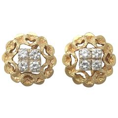 0.24Ct Diamond & 18k Yellow Gold, 18k White Gold Set Stud Earrings - Vintage