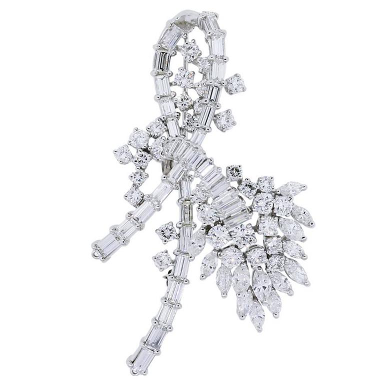 Diamond Platinum Brooch Pin For Sale
