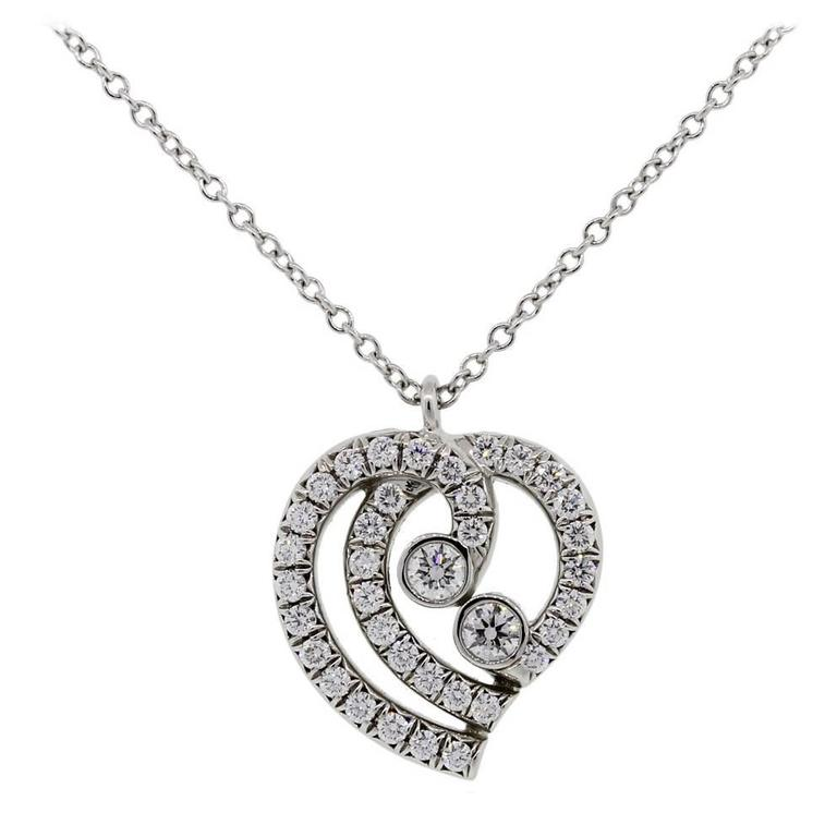 Tiffany & Co. Diamond Platinum Heart Pendant Necklace For Sale