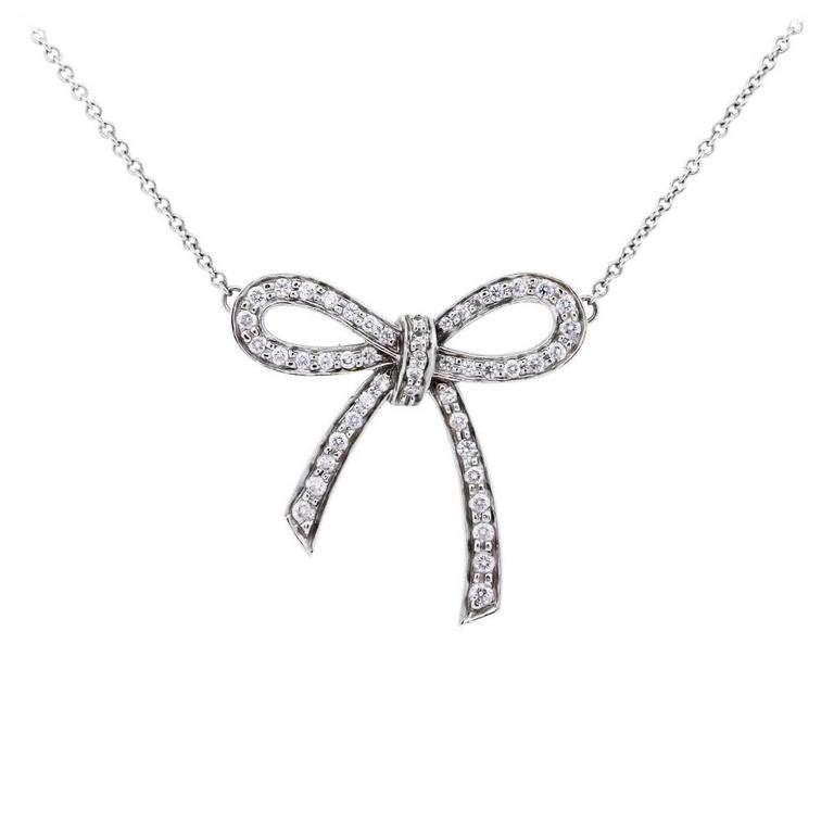 Tiffany & Co. Diamond Platinum Bow Pendant Necklace