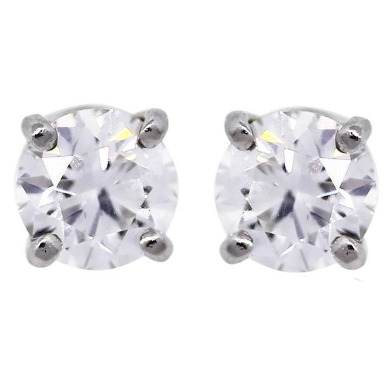 Tiffany & Co. Diamond Platinum Stud Earrings 1