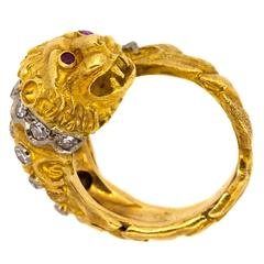 Zolotas-Greece Diamond Gold Lion Head Ring