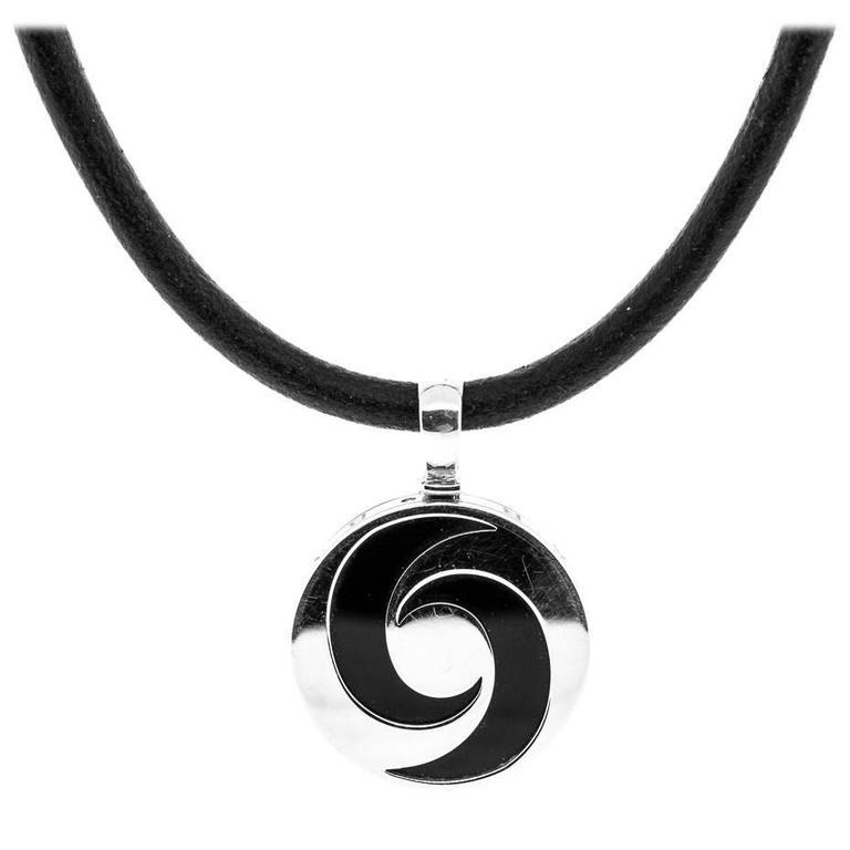 Bulgari Steel Gold Crescent Symbol Pendant