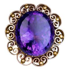 Victorian Era Antique Russian Amethyst Gold Brooch Pin