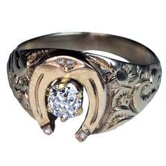 Antique Mid 1800s Diamond Gold Men's Horseshoe Ring