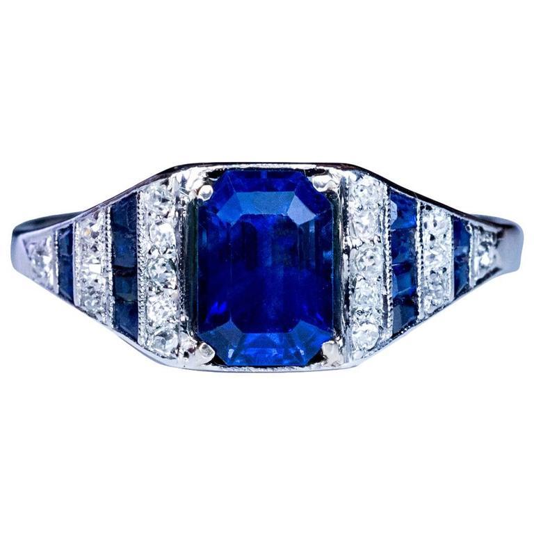 Art Deco Sapphire Diamond Platinum Engagement Ring For Sale