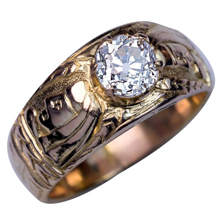 Antique Diamond Chased Gold Men's Ring