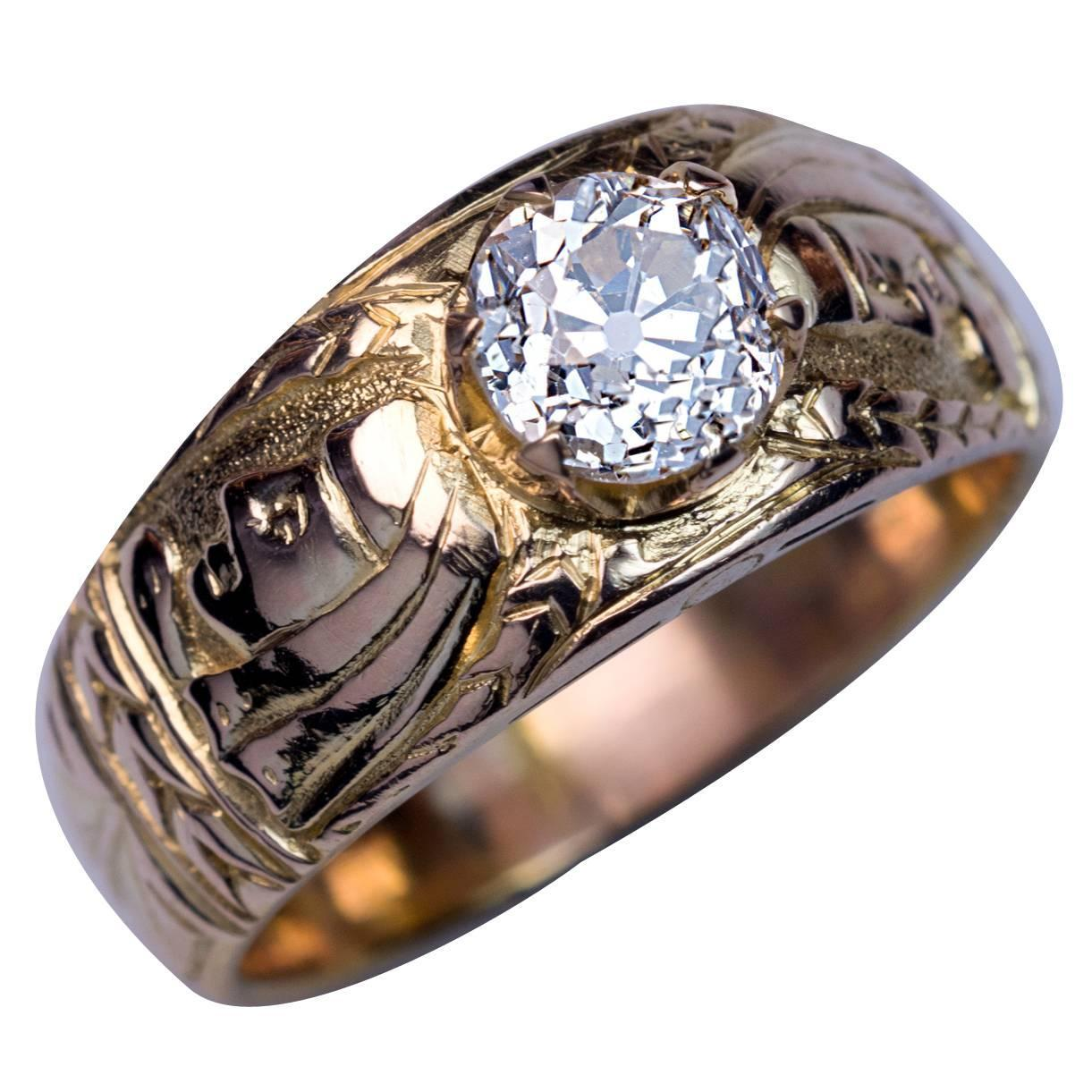 Antique Diamond Chased Gold Men's Ring For Sale At 1stdibs