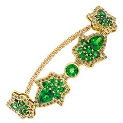 Ana de Costa Yellow Gold Green Pear Tsavorite Cognac Diamond Chain Bracelet