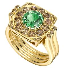 Ana De Costa Green Round Tsavorite Cognac Diamond Yellow Gold Cocktail Ring