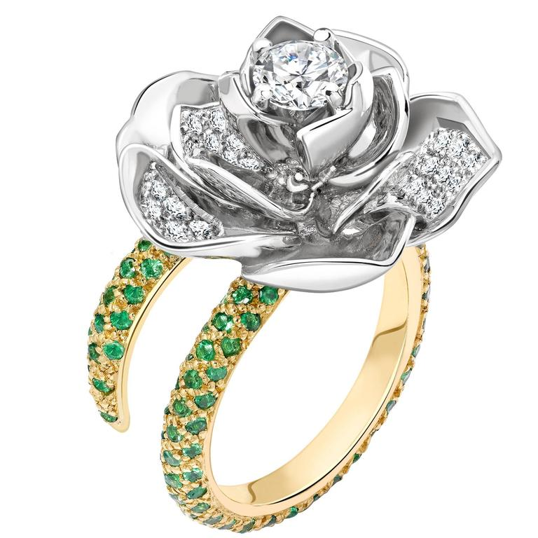 Ana De Costa Platinum Yellow Gold White Round Diamond Green Tsavorite Lotus Ring