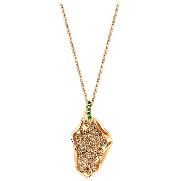 Ana De Costa Rose Gold Green Tsavorite Cognac Diamond Petal Drop Pendant
