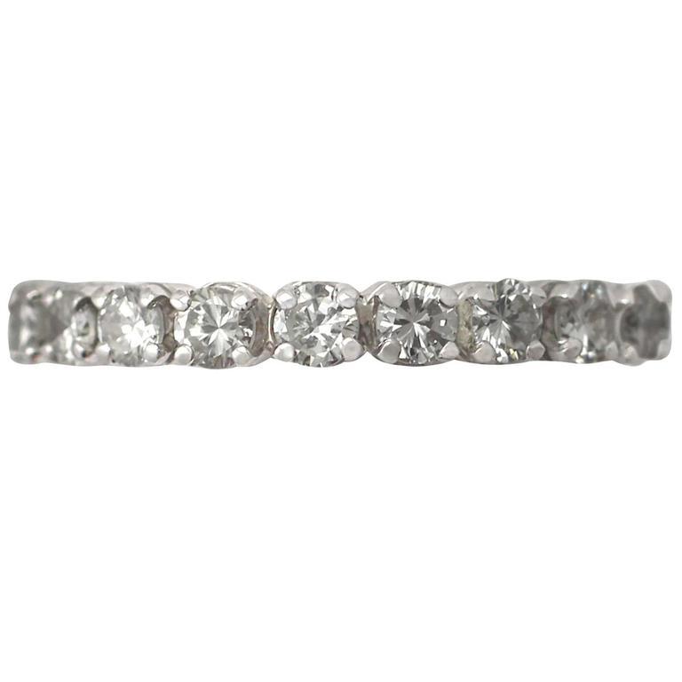 1.42Ct Diamond and 18k White Gold Full Eternity Ring - Vintage Circa 1960