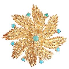 1960s Turquoise Gold Spiral Star Shape Brooch
