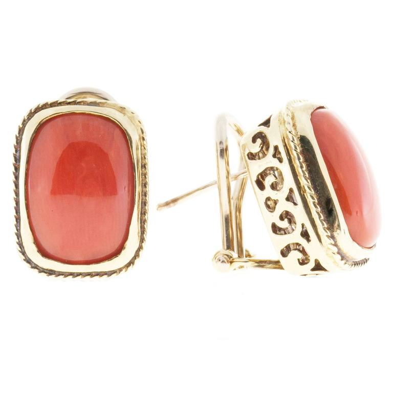 Orange  Coral Italian Gold Clip Post Earrings For Sale