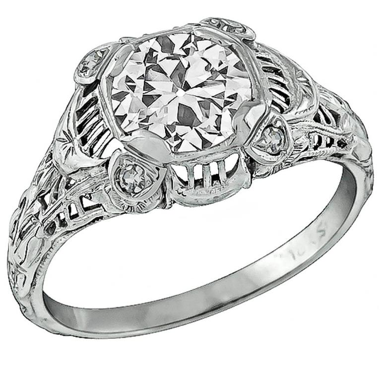 127 Carat Gia Cert Circular Brilliant Cut Diamond Gold Engagement