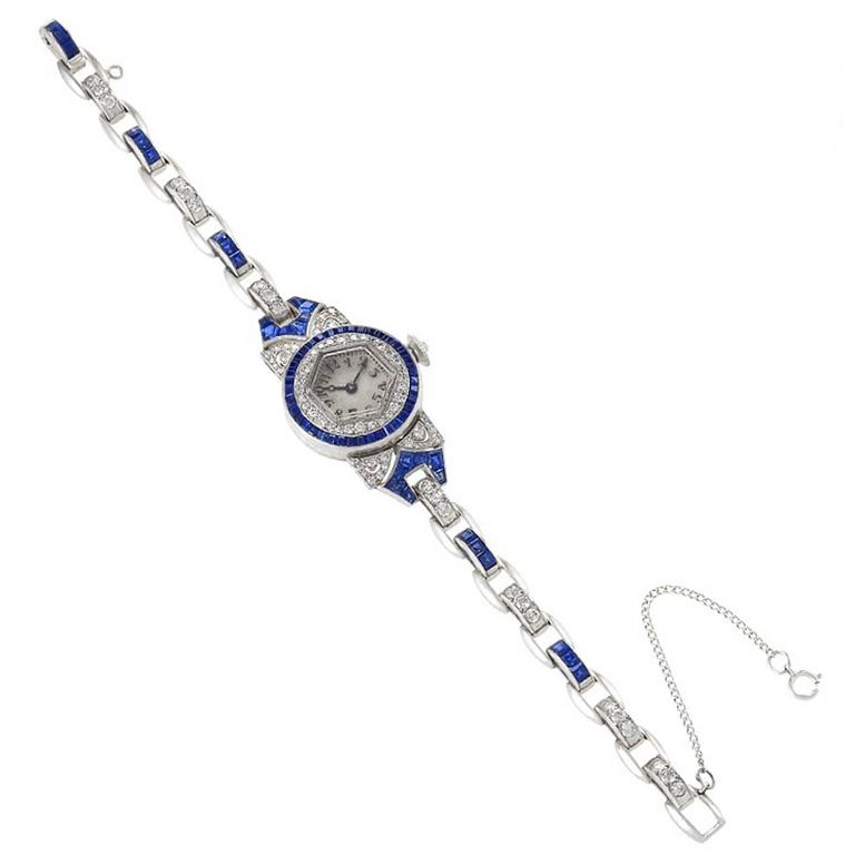 Oscar Heyman Art Deco Diamond, Sapphire and Platinum Wristwatch