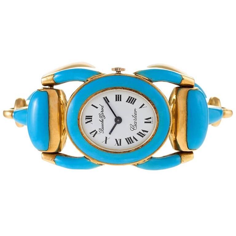 Cartier-Beuche Girod 1970s Ladies Yellow Gold Enamel Stirrup Wristwatch