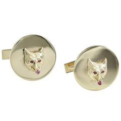 Fox Head Ruby Gold Cufflinks
