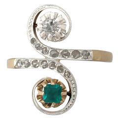 1920s Antique Emerald & Diamond Yellow & White Gold Set Cocktail Ring