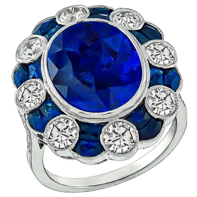 Stunning 6 Carat Oval Cut Sapphire Diamond Gold Ring