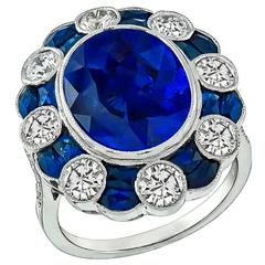Stunning 6 Carat Oval Cut Sapphire Diamond Gold Ring