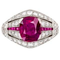 Past Era 1930s Art Deco Untreated Burmese Ruby Diamond Platinum Ring
