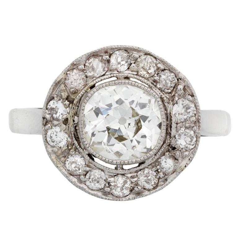 Past Era Edwardian Diamond Platinum Cluster Ring