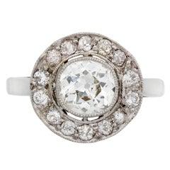 Edwardian Diamond Platinum Cluster Ring