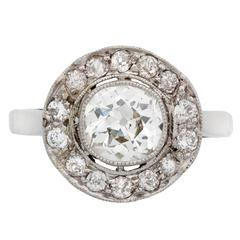 Past Era Edwardian Diamond Platinum Cluster Ring