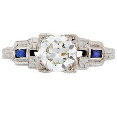 Past Era Art Deco Illusion-Set Diamond Ring with Calibré-cut Synthetic Sapphire