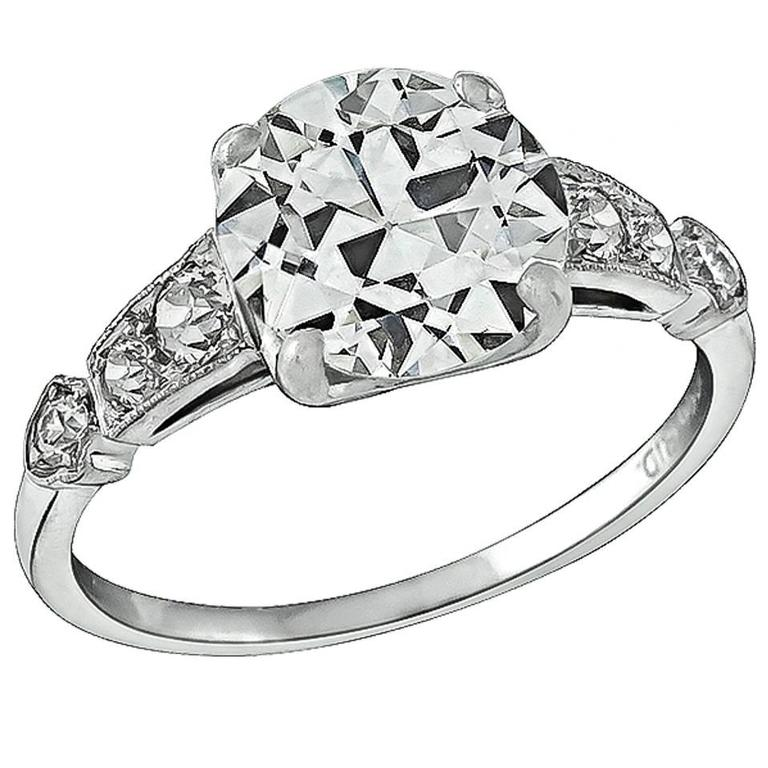 2.05 Carat GIA Cert Diamond Platinum Engagement Ring
