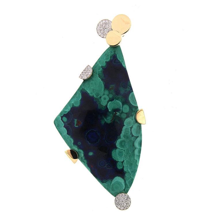 Valentin Magro Special Cut Azurite Malachite Diamond Gold Pendant