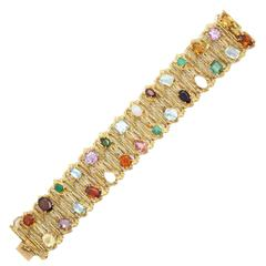 1960s H.Stern Multi-Colored Gemstone Gold Flexible Textured Bracelet