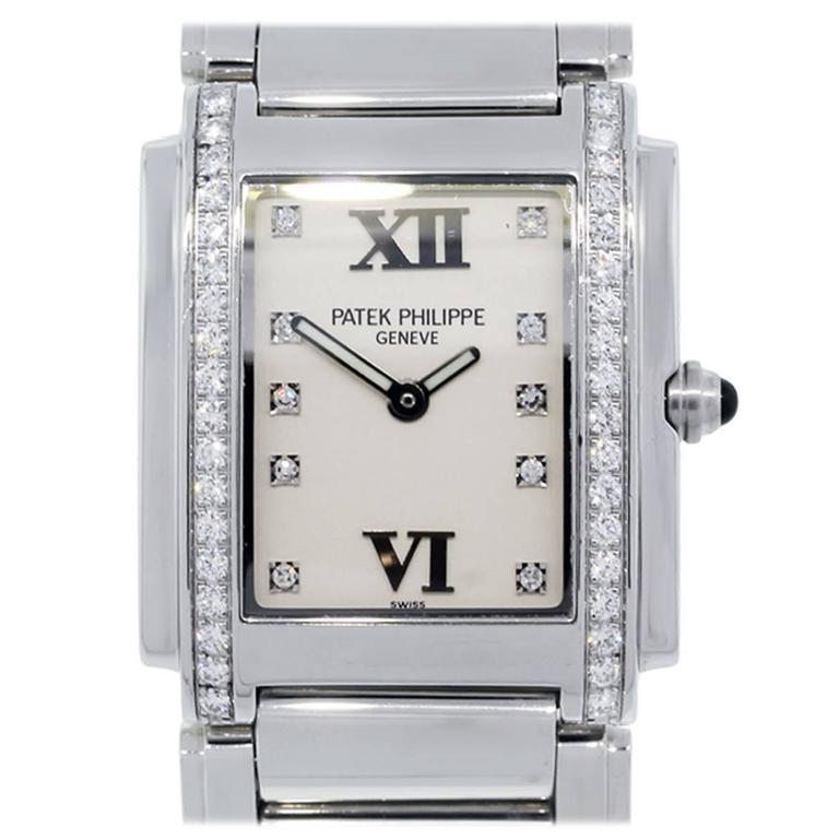 Patek Philippe Stainless Steel Twenty-4 Diamond Dial Diamond Bezel Wristwatch