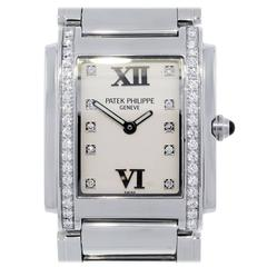 Patek Philippe Stainless Steel Twenty-4 Diamond Dial Diamond Bezel Wristwatch