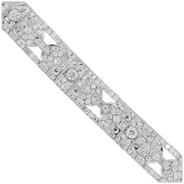 Art Deco Diamond Platinum Bracelet For Sale