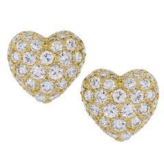 Cartier Diamond Gold Heart Earrings