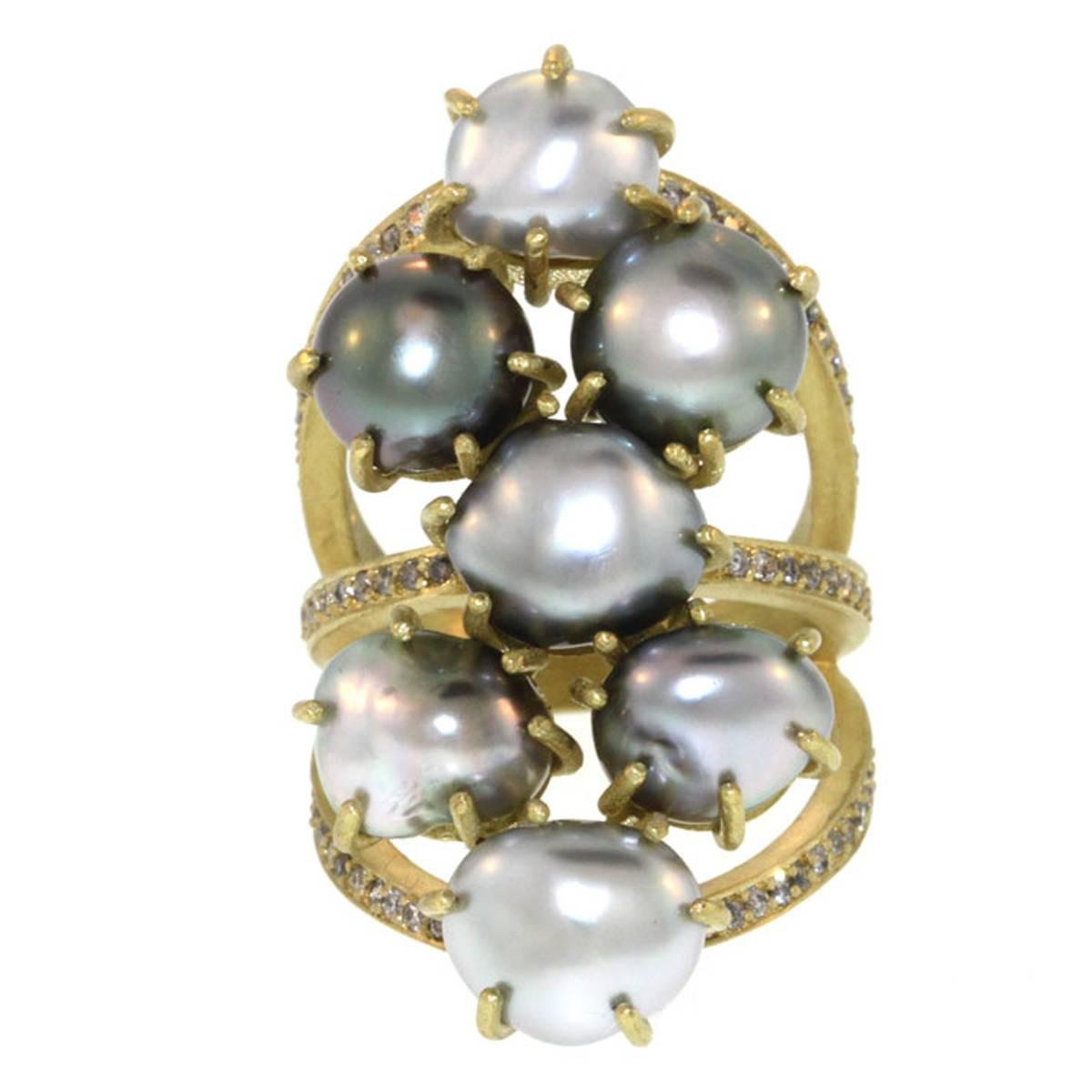 Seven Seas Pearl Diamond Gold Ring at 1stdibs