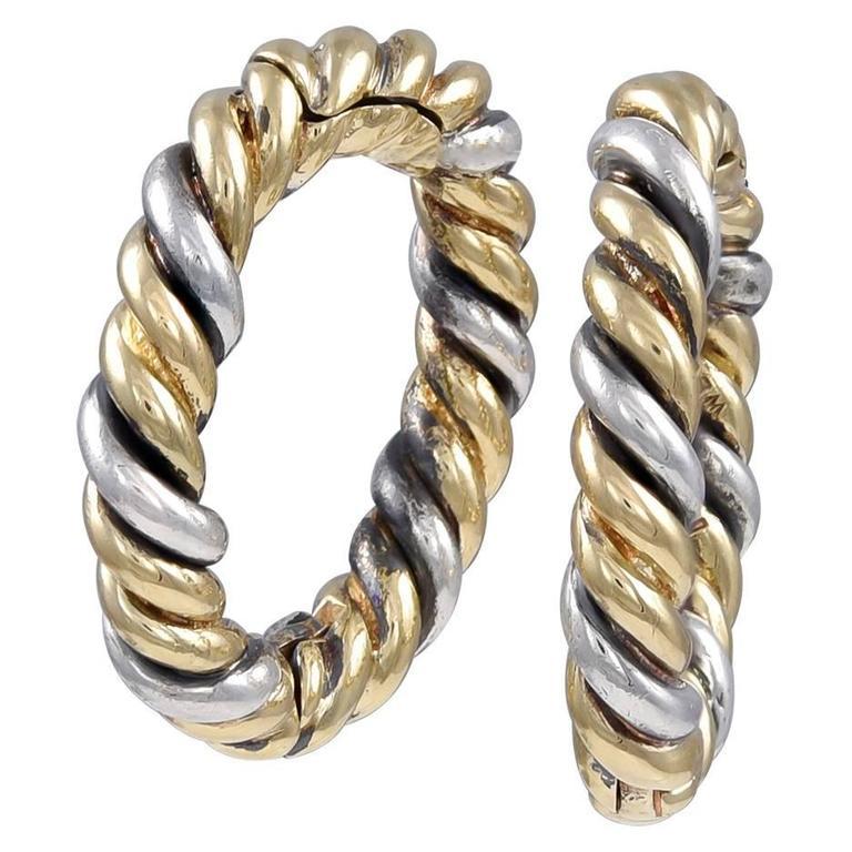 David Webb Silver Gold Around-the-Cuff Cufflinks