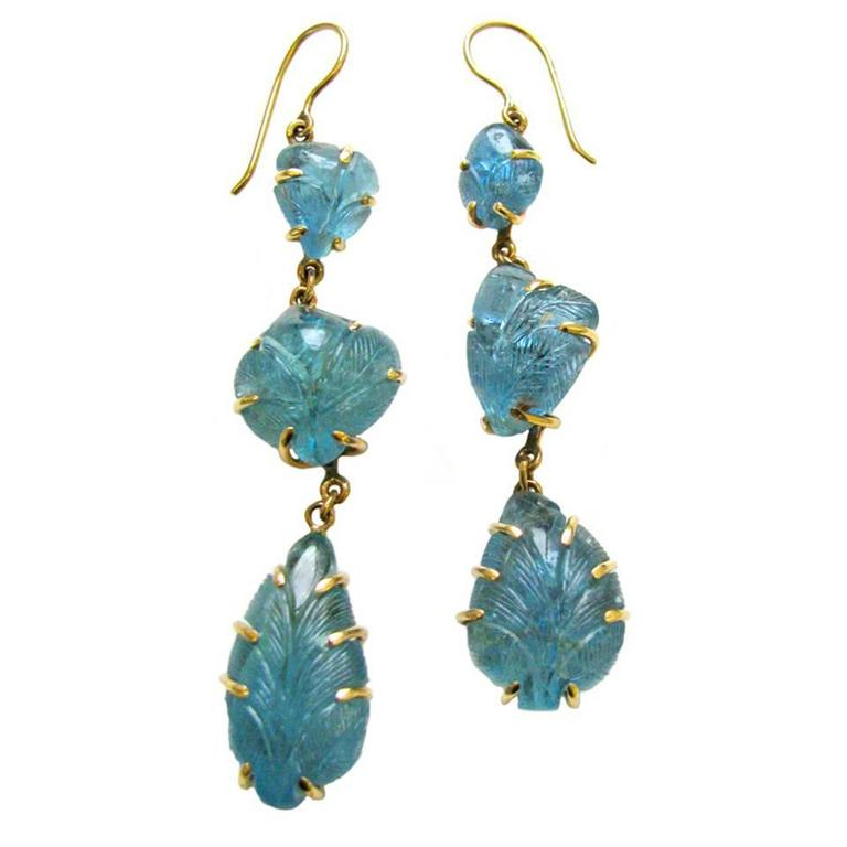 Long Carved Aquamarine Dangle Earrings