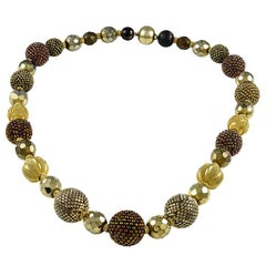 Axel Russmeyer Crystal Bead Gold Necklace