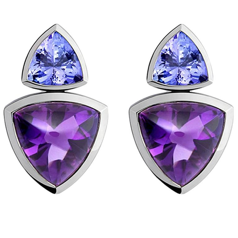 Colleen B. Rosenblat Tanzanite Amethyst Gold Earrings For Sale