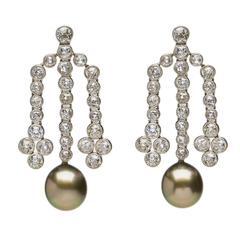 Tahitian Pearl Diamond Gold Chandelier Earrings