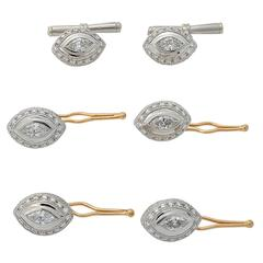 5.43 Carats Diamond Gold Platinum Shirt Studs Lapel Pin and Cuff Link Set