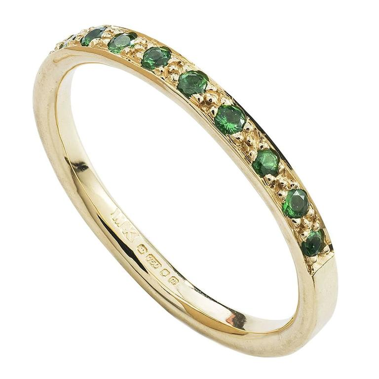 Milena Kovanovic Tsavorite Gold Half Eternity Band Ring