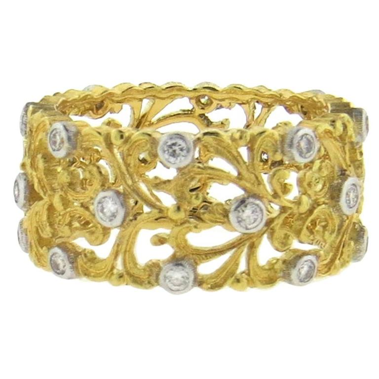 Buccellati Diamond Gold Wide Wedding Band Ring