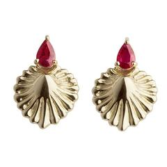 Milena Kovanovic Ruby Gold Shell Earrings