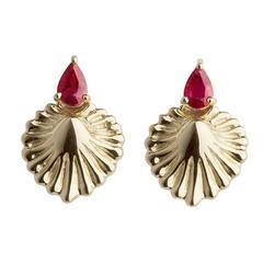 Milena Kovanovic Ruby Gold Shell Earrings