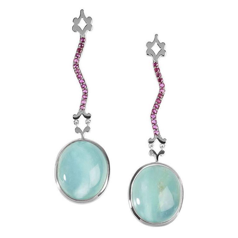 Milena Kovanovic Opal Ruby Gold Drop Earrings 1